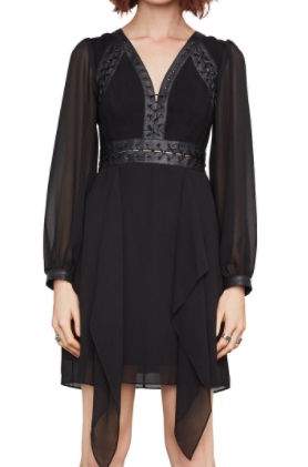 Andela Faux-Leather-Trim Dress
