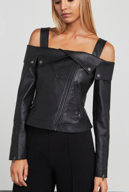 Clyde Faux-Leather Moto Jacket