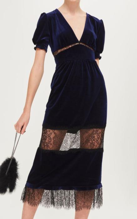 TOPSHOP Velvet Lace Mix Midi Dress