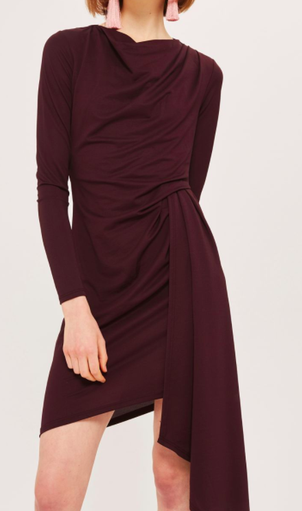 TOPSHOP Asymmetric Crepe Drape Dress
