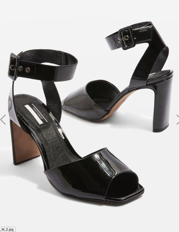 ROUX Square Peep Toe Patent Shoes