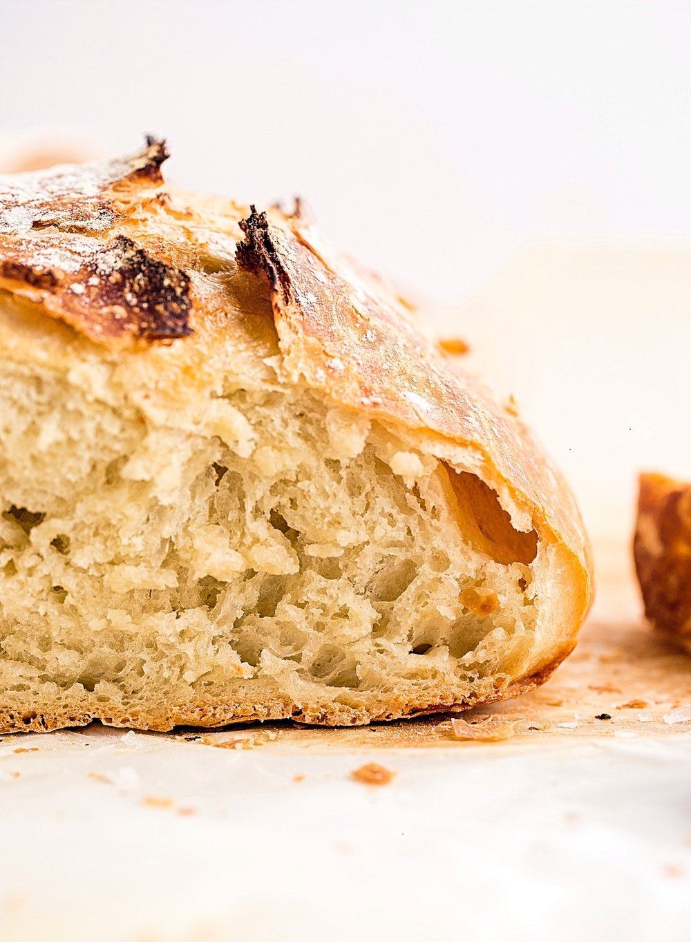 Crusty No Knead Bread: crusty and crispy on the outside, soft and doughy on the inside. 4 ingredients and 3 minutes to make! | TrufflesandTrends.com