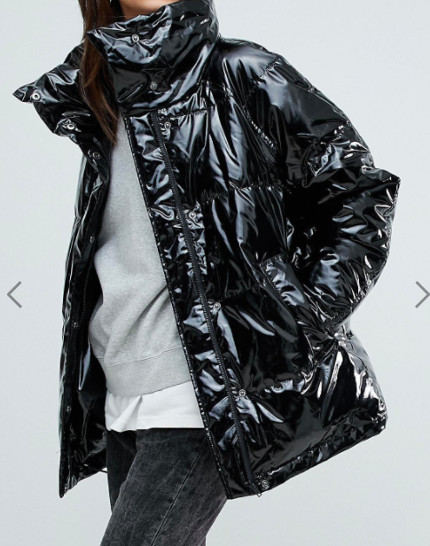 Monki Vinyl Padded Jacket