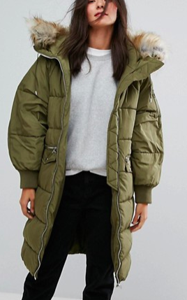 Pull&Bear Long Line Padded Jacket With Faux Fur Hood