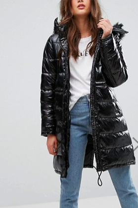 Boohoo Padded Coat With Faux Fur Hood