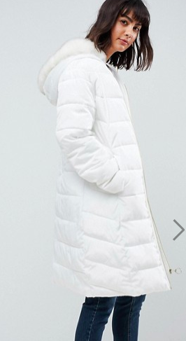 ASOS Longline Puffer Coat with Faux Fur Trim Hood