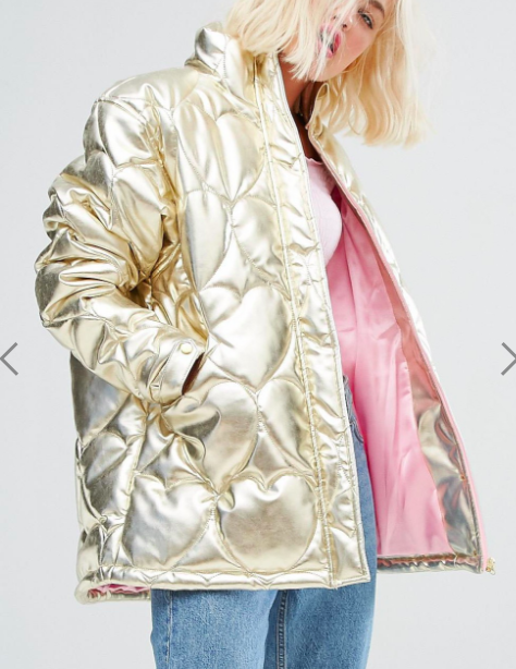 Lazy Oaf Golden Child Heart Puffer Coat