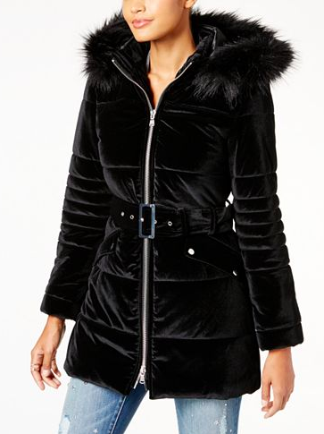 INC International Concepts Hooded Velvet Puffer Coat