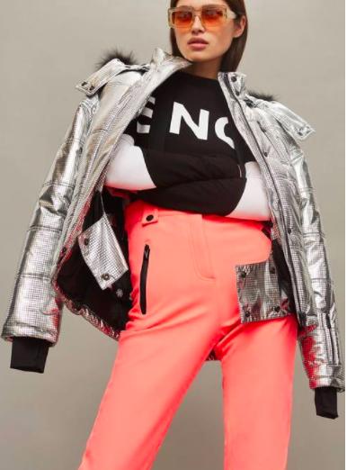 SNO Rio Faux Fur Hood Metallic Puffer Jacket