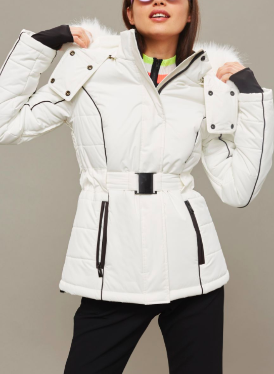 SNO White Faux Fur Hood Ski Jacket