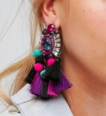 ALDO Woidien Multicoloured Tassel Statement Earrings