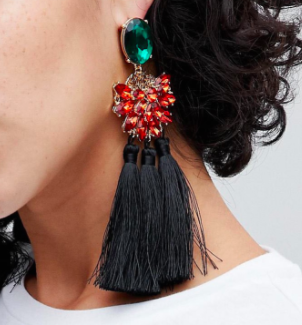 ASOS Statement Jewel and Tassel Earrings