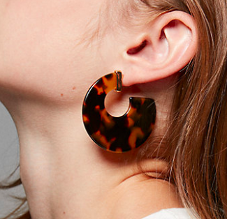 Express Tortoiseshell Flat Hoop Earrings