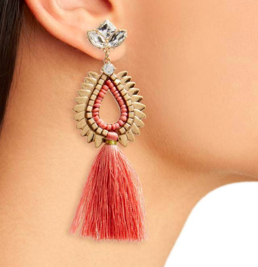 Crystal & Tassel Earrings BP.