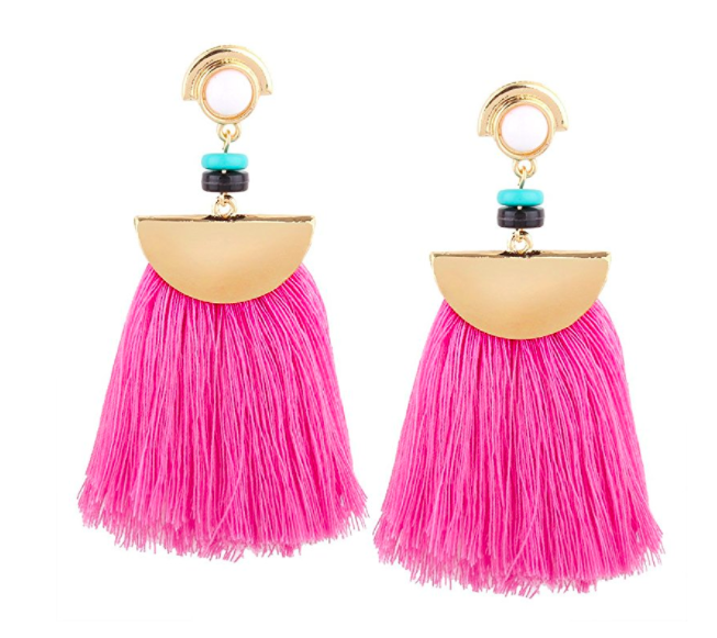 Idealway idealway Women's Girls Elegant Jewellery Bohemia Ethnic Tassels Dangle Stud Earrings Eardrop