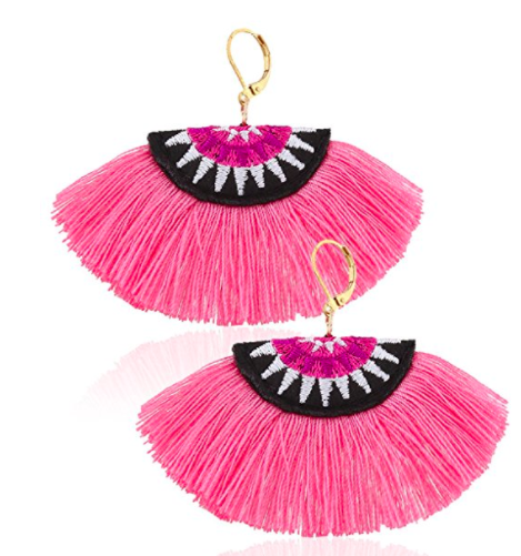 Eternity J. Eternity J. Women Ethnic Bohemian Embroidery Wool Tassel Drop Dangle Earrings Eardrop