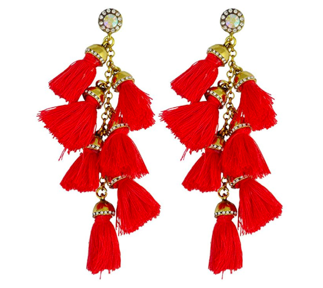 Idealway Idealway 4 Colors Fashion Handmade Exaggerated Long Drop Earring Crystal Gemstone Tassel Earrings
