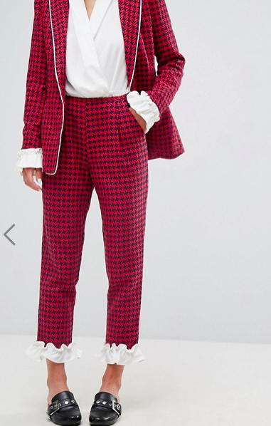 Sister Jane Houndstooth Pants With Frill