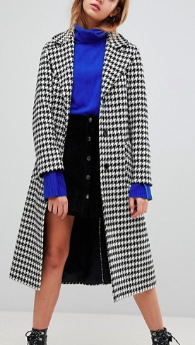 Helene Berman Wool Blend Longline Houndstooth Belted Coat