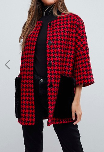 Helene Berman Faux Fur Houndstooth Pockets Kimono Coat