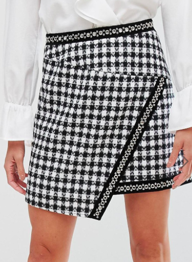PrettyLittleThing Houndstooth Wrap Mini Skirt
