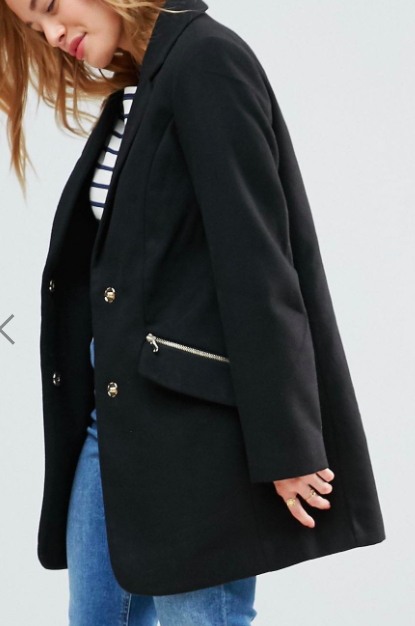 ASOS PETITE Slim Boyfriend Coat with Zip Pocket