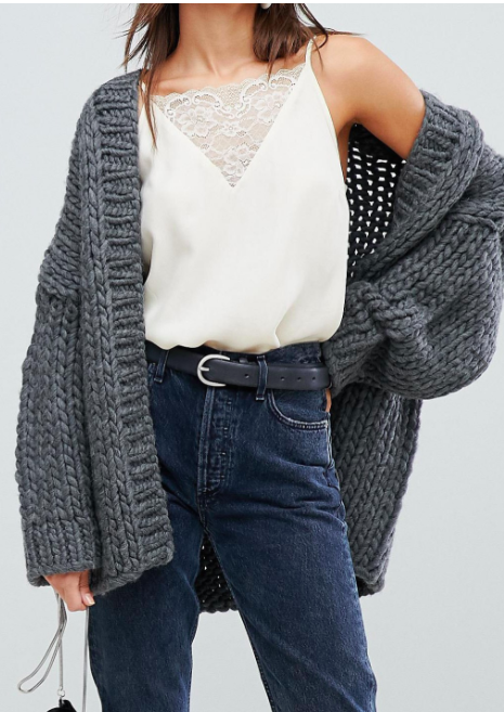 Selected Femme Cable Knit Chunky Cardigan