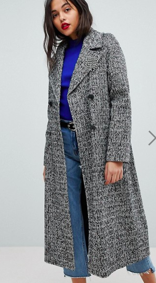 River Island Double Breasted Check Herringbone Coat