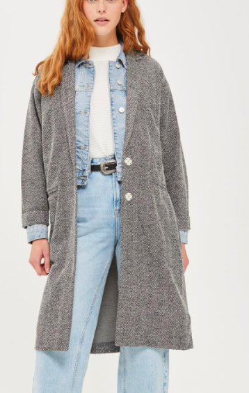Topshop Textured Jersey Coat