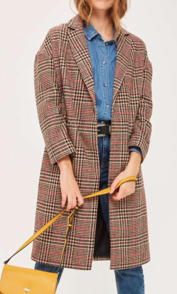 Topshop Longline Checked Coat