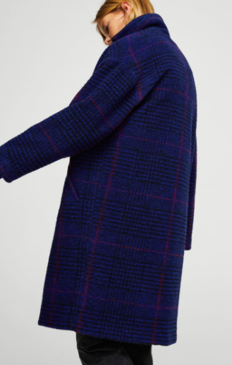 Mango Checkered wool-blend coat