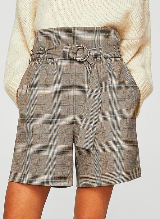 Mango Belt check shorts