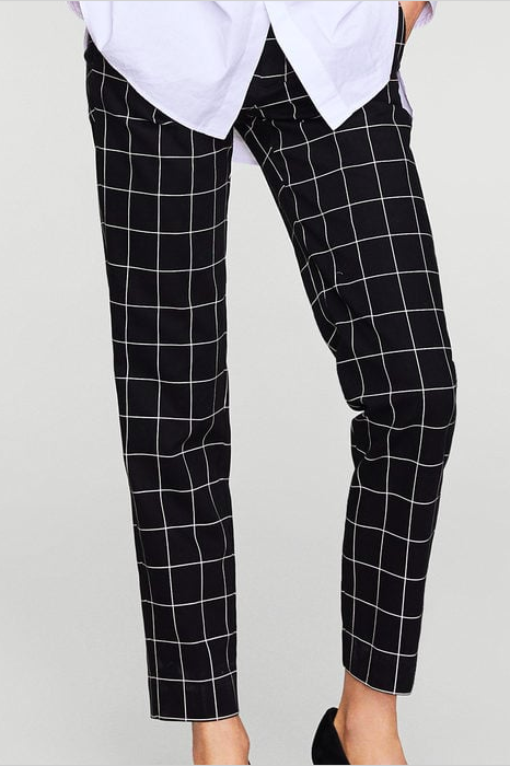 Mango Check cotton trousers