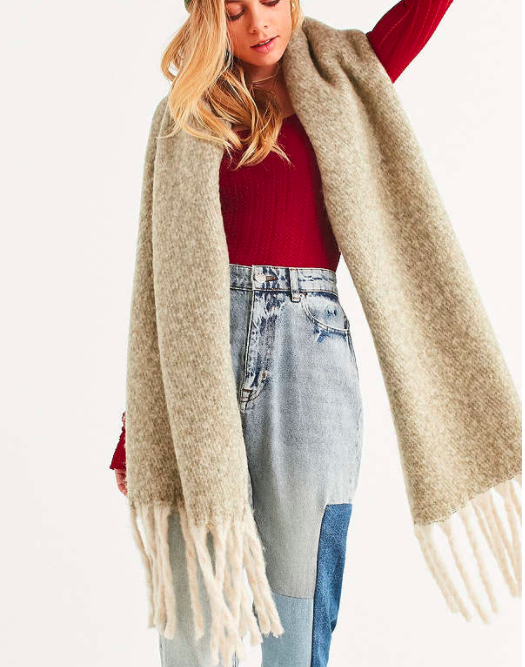 UO Nubby Contrast Fringe Woven Scarf