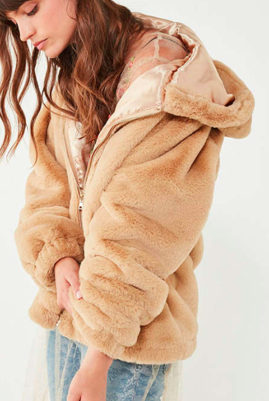 UO Lilly Zip-Up Faux Fur Jacket