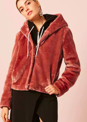 Forever 21 Pull-Ring Faux Fur Jacket