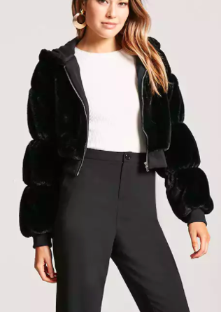 Forever 21 Faux Fur Hooded Jacket