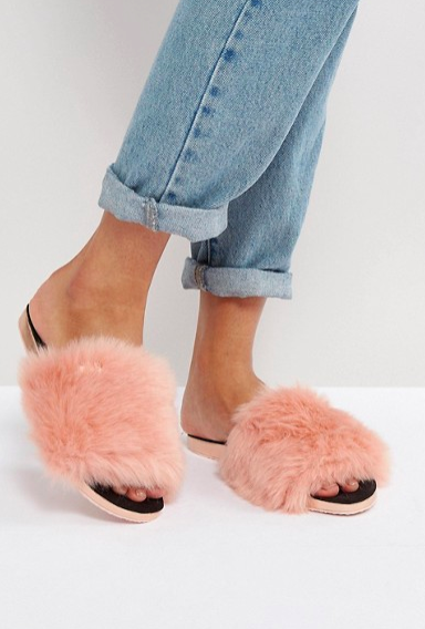 Ted Baker Pancy Faux Fur Slide Flat Sandals