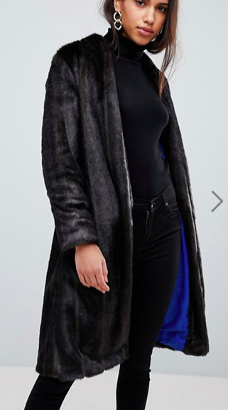 Helene Berman Suki Collarless Faux Fur Coat