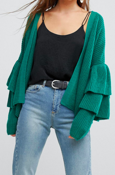 Only Ribbed Cardigan With Ruffle Sleeves
