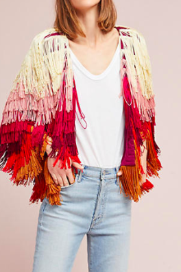 ANESSA VIRGINIA Fringed Long-Sleeve Jacket