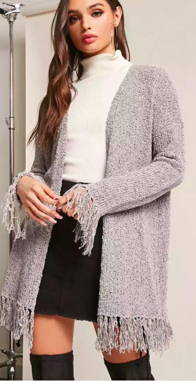 Marled Open-Knit Fringe Cardigan