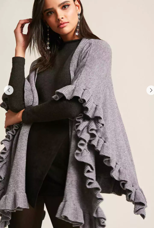 FOREVER 21 Open-Front Ruffle Cardigan