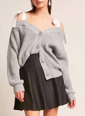 FOREVER 21 Ribbed Open-Shoulder Cardigan