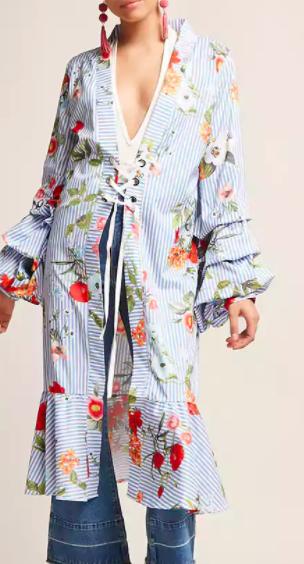 FOREVER 21 Longline Floral Pinstripe Cardigan