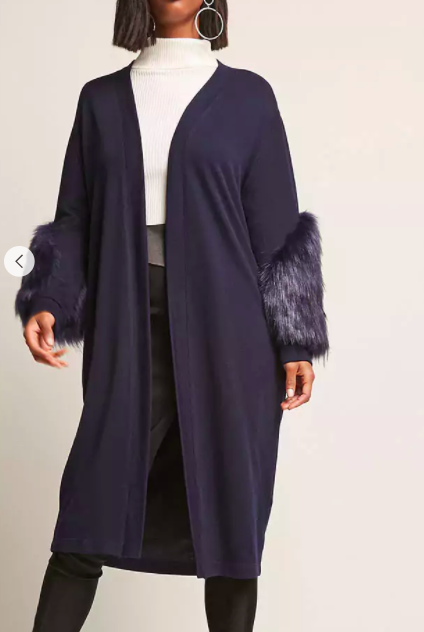 FOREVER 21 Faux Fur Sleeve Cardigan