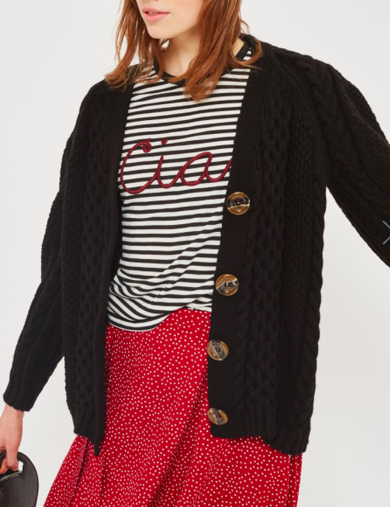 TOPSHOP Cable Knit Cardigan