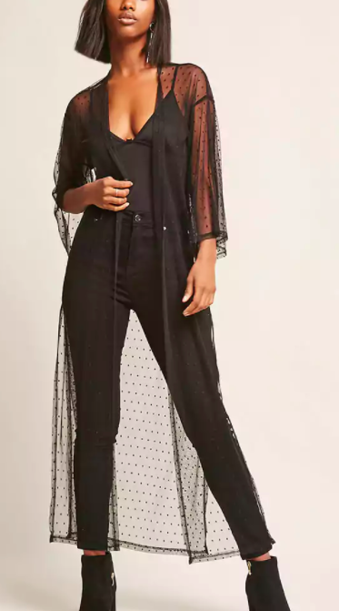 FOREVER 21 Sheer Polka Dot Duster Cardigan