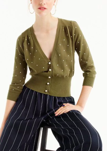 JCREW Fitted cardigan sweater in tiny dots