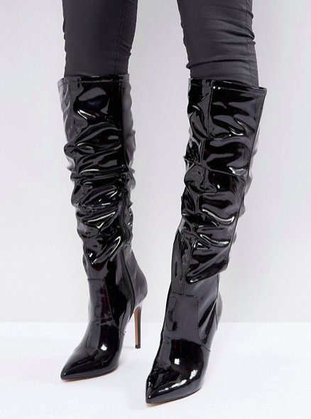 ASOS CRUSHED Slouch Pointed Knee Boots